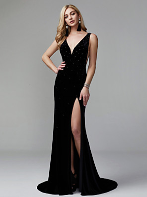 cheap Evening Dresses-Mermaid / Trumpet Celebrity Style Minimalist Furcal Formal Evening Dress Plunging Neck Sleeveless Sweep / Brush Train Velvet with Pleats Sequin Split Front 2020