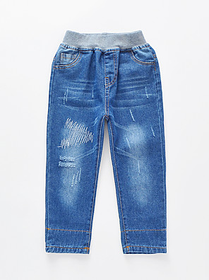 cheap Boys' Pants-Kids Boys' Basic Street chic Solid Colored Color Block Cut Out Hole Ripped Cotton Jeans Blue / Embroidered