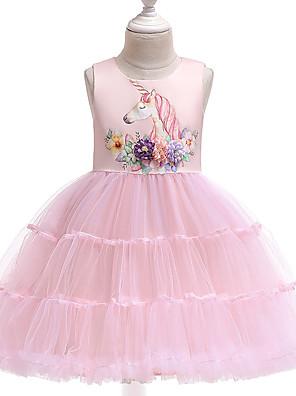 cheap Girls' Dresses-Kids Girls' Active Street chic Unicorn Solid Colored Sleeveless Knee-length Dress Blue