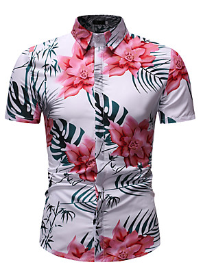 cheap Men's Shirts-Men's Floral Graphic Print Shirt - Cotton Basic Street chic Holiday Daily Wear Vacation Classic Collar Rainbow / Short Sleeve / Beach