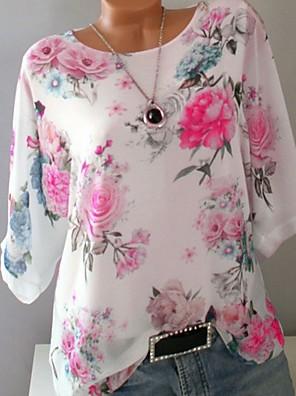 cheap Women's Blouses-Women's Plus Size Floral Print Loose T-shirt White / Blue / Purple / Yellow / Blushing Pink