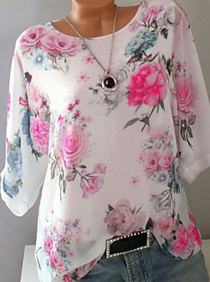 cheap Romantic Lace Dresses-Women's Plus Size Floral Print T-shirt White / Blue / Purple / Yellow / Blushing Pink / Loose