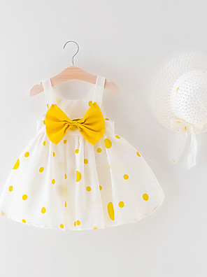 cheap Baby Girls' One-Piece-Baby Girls' Boho Polka Dot Backless / Bow / Print Sleeveless Above Knee Dress Green / Toddler