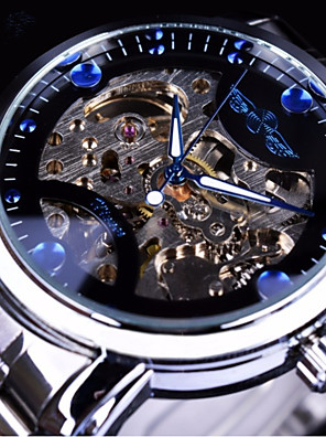 cheap Military Watches-Men's Mechanical Watch Automatic self-winding Silver / Gold Hollow Engraving Casual Watch Large Dial Analog Fashion Skeleton - White Black Gold