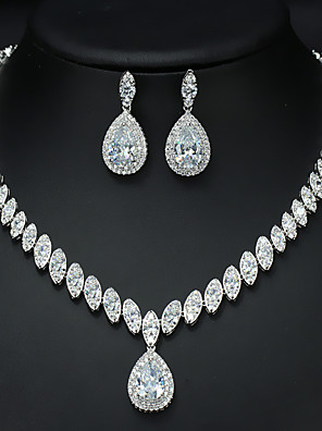 cheap Evening Dresses-Women's AAA Cubic Zirconia Bridal Jewelry Sets Fancy Love Luxury Vintage Cute Platinum Plated Earrings Jewelry White For Wedding Party 1 set