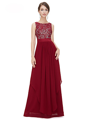 cheap Evening Dresses-A-Line Elegant Red Wedding Guest Formal Evening Dress Jewel Neck Sleeveless Floor Length Chiffon Lace with Tier Lace Insert 2020