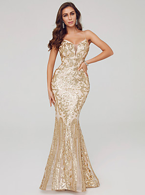 cheap Prom Dresses-Mermaid / Trumpet Elegant Sexy Formal Evening Dress Spaghetti Strap Sleeveless Sweep / Brush Train Sequined with Sequin 2020