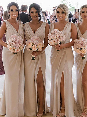 cheap Evening Dresses-Plunging Neck Chiffon Bridesmaid Dress with Split Front / Ruching by JUDY&JULIA
