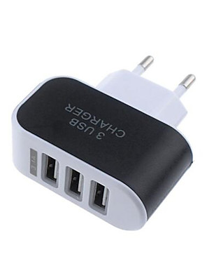 cheap Fast Chargers-Portable Charger USB Charger EU Plug Multi-Output 3 USB Ports 1 A 100~240 V for Universal