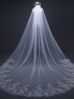 cheap Wedding Veils-One-tier Luxury / Lace Applique Edge Wedding Veil Cathedral Veils with Sequin / Appliques 118.11 in (300cm) Lace / Tulle / Oval