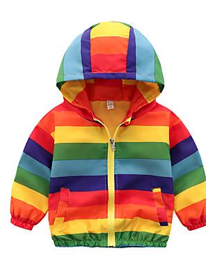 cheap Girls' Dresses-Kids Boys' Active Basic Color Block Rainbow Regular Trench Coat Rainbow