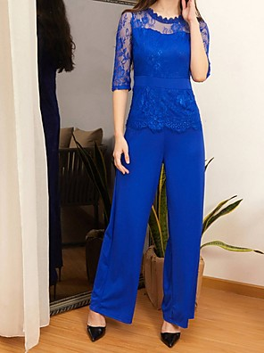 cheap Women's Dresses-Women's Red Green Blue Wide Leg Slim Jumpsuit Onesie, Solid Colored Lace / Fashion S M L Spring Summer Fall / Winter