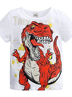 cheap Boys' Tops-Kids Boys' Basic Dinosaur Print Short Sleeve Cotton Tee Blue