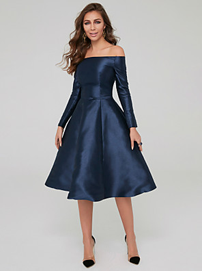 cheap Special Occasion Dresses-A-Line Elegant Blue Wedding Guest Cocktail Party Dress Off Shoulder Long Sleeve Knee Length Satin with Pleats 2020