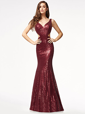 cheap Special Occasion Dresses-Mermaid / Trumpet Sexy Open Back Formal Evening Dress V Wire Sleeveless Sweep / Brush Train Sequined with Sequin 2020