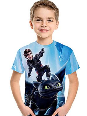cheap Boys' Tops-Kids Toddler Boys' Active Basic Print Print Short Sleeve Tee Light Blue