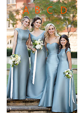cheap Prom Dresses-A-Line Sweetheart Neckline / Plunging Neck Floor Length Satin Bridesmaid Dress with Sash / Ribbon