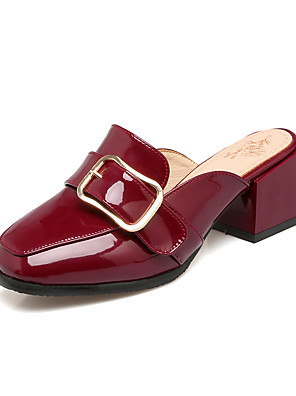 cheap Women's Pants-Women's PU(Polyurethane) Summer / Fall Vintage Clogs & Mules Chunky Heel Square Toe White / Black / Wine