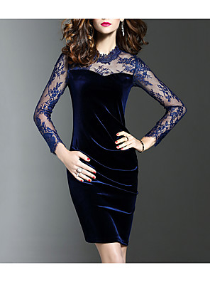 cheap Women's Dresses-Women's Plus Size Short Mini Dress Black Sheath Dress - Long Sleeve Solid Colored Lace Spring Fall Elegant Party Going out Slim Velvet Black Blue S M L XL XXL XXXL