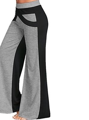 cheap Women's Pants-Women's Plus Size Wide Leg Pants Color Block Patchwork White Blue Gray S M L