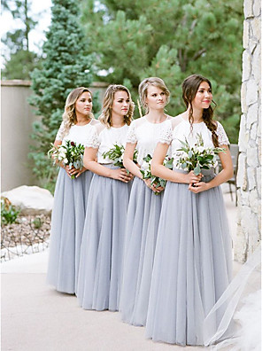 cheap Bridesmaid Dresses-A-Line Jewel Neck Floor Length Lace / Tulle Bridesmaid Dress with Lace