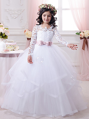 cheap Girls' Dresses-Ball Gown Sweep / Brush Train Wedding / Birthday / First Communion Flower Girl Dresses - Cotton / Lace / Tulle Long Sleeve Scalloped Neckline with Tier / Appliques / Solid