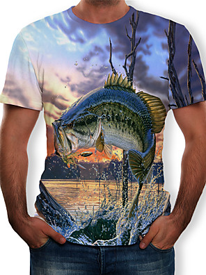 cheap Men's Polos-Men's Daily Plus Size T-shirt Graphic Scenery Animal Print Short Sleeve Tops Streetwear Exaggerated Round Neck Light Blue / Summer