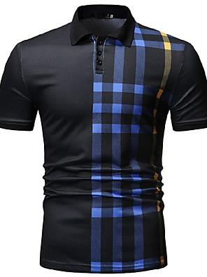 cheap Sport Watches-Men's Daily Wear Polo Striped Short Sleeve Tops Shirt Collar White Black Navy Blue