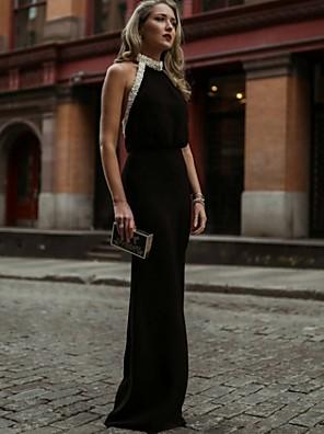 cheap Cocktail Dresses-Sheath / Column Elegant Black Holiday Formal Evening Dress Halter Neck Sleeveless Floor Length Jersey with Beading 2020