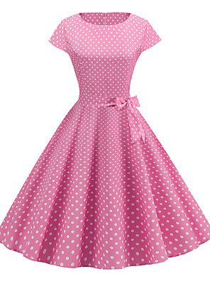 cheap Women's Dresses-Women's A Line Dress - Short Sleeve Print Vintage Blushing Pink S M L XL XXL