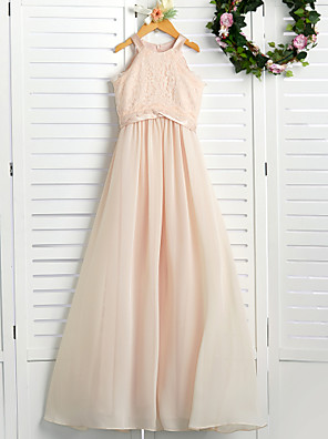 cheap Junior Bridesmaid Dresses-A-Line Crew Neck Floor Length Chiffon / Lace Junior Bridesmaid Dress with Lace / Sash / Ribbon