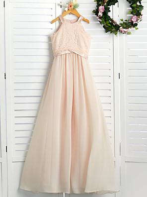 cheap Junior Bridesmaid Dresses-A-Line Crew Neck Floor Length Chiffon / Lace Junior Bridesmaid Dress with Lace / Sash / Ribbon