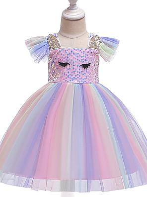cheap Baby Girls'  Dresses-Baby Girls' Active / Street chic Rainbow Short Sleeve Knee-length Dress Blushing Pink