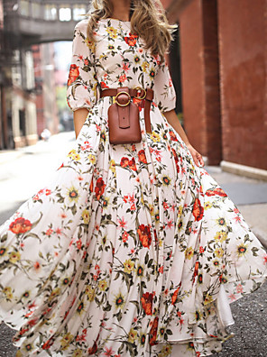 cheap Prom Dresses-Women's Floral Long Maxi White Dress With Sleeve 2020 Ruffle Casual Spring Holiday Vacation Swing Flower Lantern Sleeve Flared Print S M