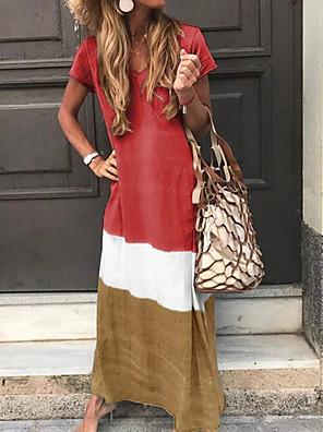 cheap Maxi Dresses-Women's Maxi long Dress - Short Sleeve Color Block Print Summer V Neck Casual Vacation Beach 2020 Red Yellow Green Navy Blue Gray S M L XL XXL XXXL XXXXL XXXXXL