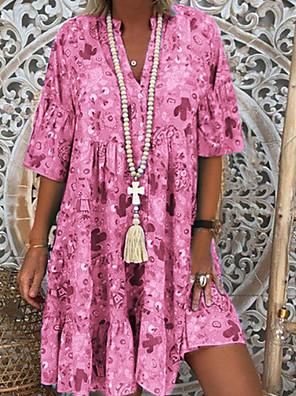 cheap Maxi Dresses-Women's Shirt Dress - Short Sleeve Deep V Basic Blue Blushing Pink Orange Green S M L XL XXL XXXL