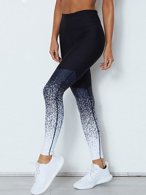 cheap Leggings-Women's Sporty Legging - Color Block, Print Mid Waist Black S M L / Slim