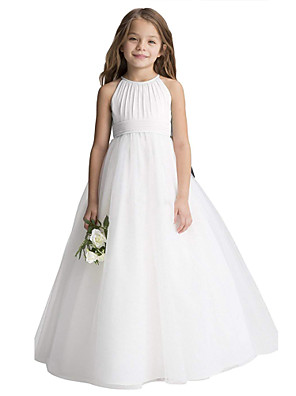 cheap Evening Dresses-Princess Long Length Christmas / Birthday / First Communion Flower Girl Dresses - Chiffon / Organza / Tulle Sleeveless Jewel Neck with Draping