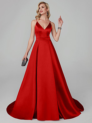 cheap Evening Dresses-A-Line Elegant Red Engagement Formal Evening Dress V Neck Sleeveless Court Train Tencel with Pleats 2020