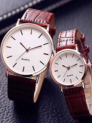 cheap Quartz Watches-Couple's Dress Watch Quartz Leather Black / Brown 30 m Water Resistant / Waterproof Casual Watch Cool Analog Casual Fashion - Black Brown One Year Battery Life