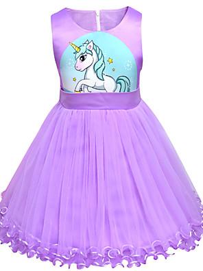 cheap Girls' Dresses-Kids Toddler Girls' Active Street chic Unicorn Cartoon Sleeveless Above Knee Dress Purple