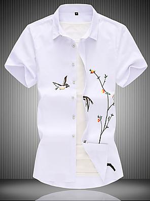 cheap Men's Pants & Shorts-Men's Plus Size Shirt Animal Tops Chinoiserie White Black
