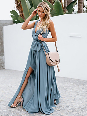 cheap Prom Dresses-A-Line Plunging Neck Floor Length Chiffon Bridesmaid Dress with Bow(s)