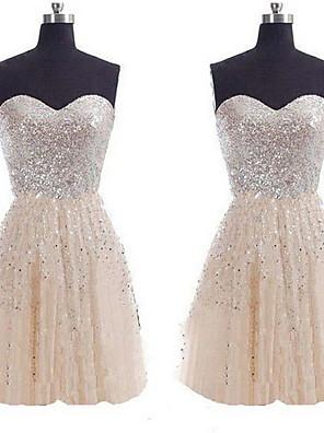 cheap Bridesmaid Dresses-A-Line Strapless Short / Mini Sequined Bridesmaid Dress with Sequin
