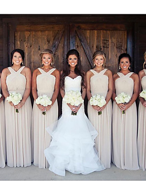 cheap Bridesmaid Dresses-A-Line Cross Front Floor Length Chiffon Bridesmaid Dress with Ruching