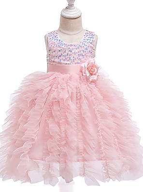 cheap Girls' Dresses-Baby Girls' Active / Street chic Solid Colored Sequins Sleeveless Knee-length Dress Blushing Pink