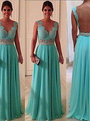 cheap Bridesmaid Dresses-A-Line Scalloped Neckline Floor Length Chiffon / Lace Bridesmaid Dress with Beading / Appliques