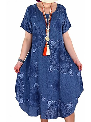 cheap Plus Size Dresses-Women's Plus Size Tunic Dress - Short Sleeve Tribal Print Summer Casual Loose White Black Blue Red Yellow Blushing Pink Orange S M L XL XXL XXXL XXXXL XXXXXL
