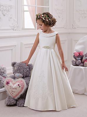 cheap Flower Girl Dresses-Kids Girls' Basic Sweet White Solid Colored Print Sleeveless Maxi Dress White / Cotton