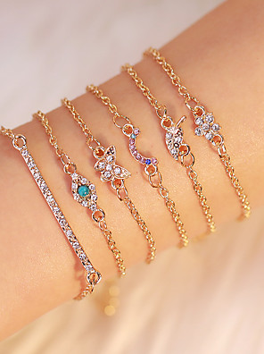 cheap Quartz Watches-6pcs Women's Vintage Bracelet Earrings / Bracelet Layered Leaf Star Rainbow Simple Classic Vintage Ethnic Fashion Alloy Bracelet Jewelry Gold For Daily School Street Holiday Festival